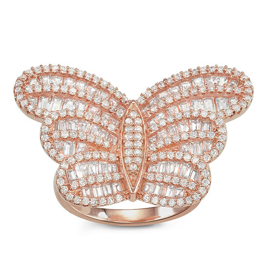 Womens 4 1/4 CT. T.W. White Cubic Zirconia 14K Rose Gold Over Silver Butterfly Cocktail Ring