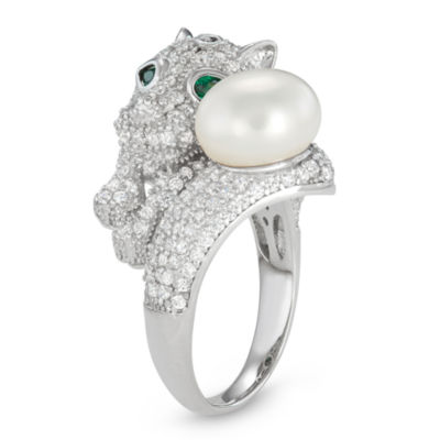 Womens 5 CT. T.W. 10-10.5MM White Cultured Freshwater Pearl Cubic Zirconia Sterling Silver Cocktail Ring