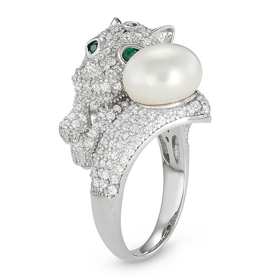 Womens Cultured Freshwater Pearl Cubic Zirconia Sterling Silver Panther Bypass Ring