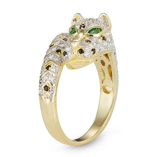 Womens 1 1 2 Ct Tw Cubic Zirconia 14k Gold Over Silver Panther Bypass Ring