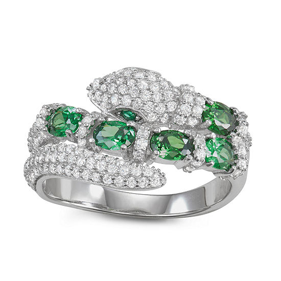 Womens 3 CT. T.W. Cubic Zirconia Sterling Silver Snake Cocktail Ring