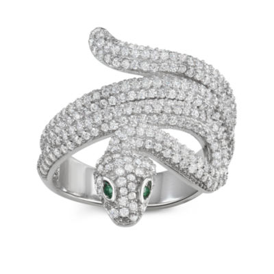 Womens 3 CT. T.W. White Cubic Zirconia Sterling Silver Cocktail Ring