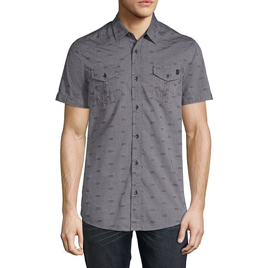 i jeans by Buffalo Test Mens Short Sleeve Button-Front Shirt