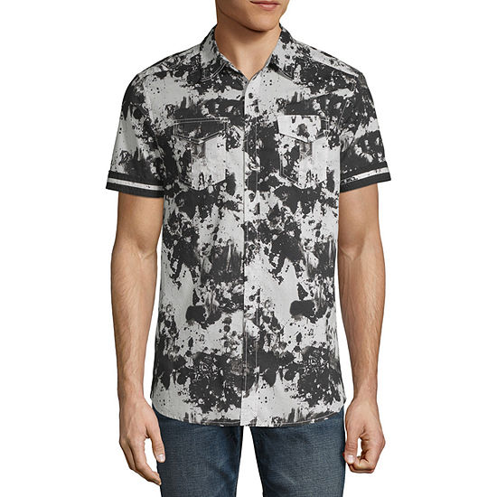 I Jeans By Buffalo Test Mens Short Sleeve Button Front Shirt