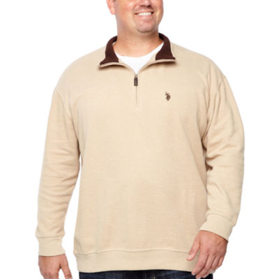 Us Polo Assn. Mens Y Neck Long Sleeve Quarter-Zip Pullover Big and Tall