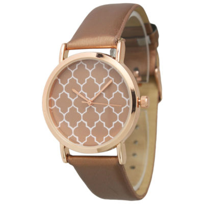 Olivia Pratt Unisex Rose Goldtone Strap Watch-13423rosegold