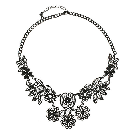 Mixit Womens Black Collar Necklace