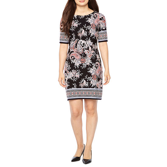 R & K Originals Short Sleeve Paisley Sheath Dress-Petite