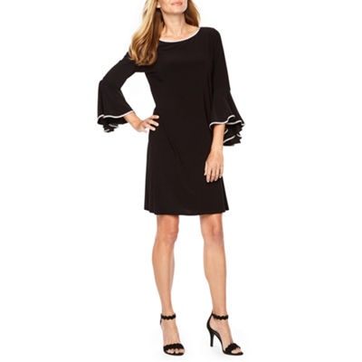 MSK 3/4 Bell Sleeve Embellished Shift Dress