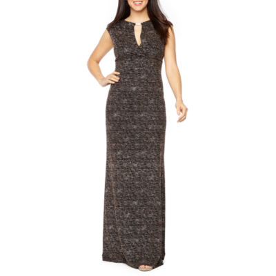 Onyx Nites Cap Sleeve Embellished Glitter Knit Evening Gown
