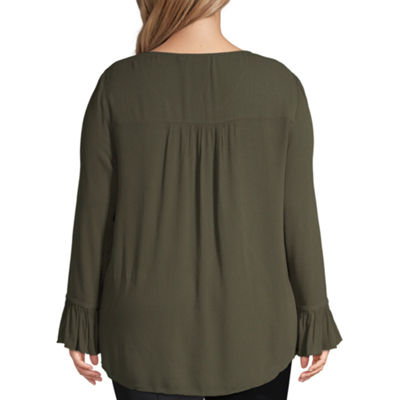 Unity World Wear Flounce Sleeve Embroidered Peasant Blouse - Plus