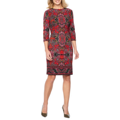 Liz Claiborne 3/4 Sleeve Medallion Print Sheath Dress