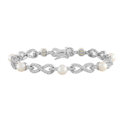 Womens 7 1/2 Inch Cultured Freshwater Pearl Sterling Silver Tennis Bracelet