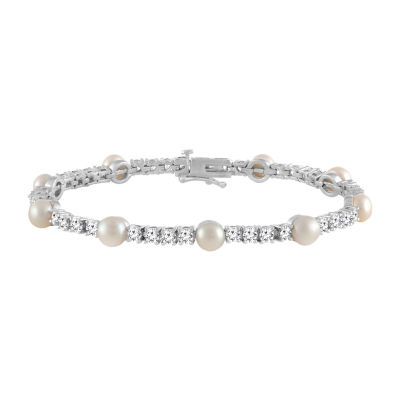 Womens Cultured Freshwater Pearl & Cubic Zirconia Sterling Silver Over Brass Bracelet