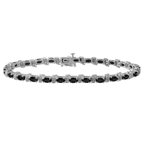 Genuine Black Sapphire Sterling Silver 7.5 Inch Tennis Bracelet
