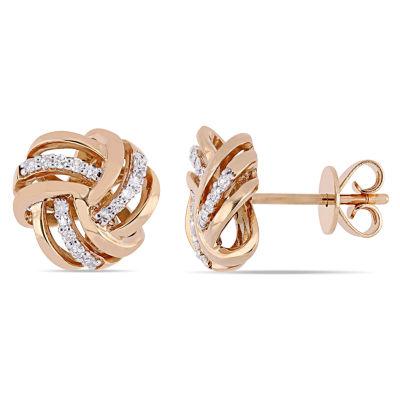 1/6 CT. T.W. Genuine White Diamond 14K Rose Gold 10.3mm Knot Stud Earrings