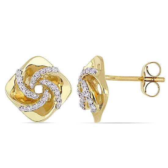 1/5 CT. T.W. Genuine White Diamond 10K Gold 11mm Stud Earrings