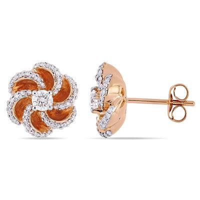 1/2 CT. T.W. Genuine White Diamond 10K Rose Gold 11.4mm Flower Stud Earrings