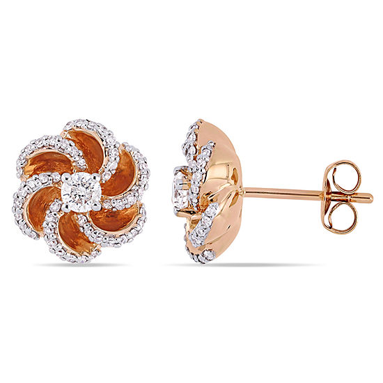 1 2 Ct Tw Genuine White Diamond 10k Rose Gold 114mm Flower Stud Earrings