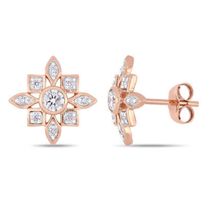 1/3 CT. T.W. Genuine White Diamond 10K Rose Gold 12.5mm Stud Earrings