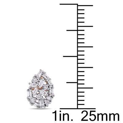 1/4 CT. T.W. Genuine White Diamond 14K Rose Gold 9.7mm Stud Earrings