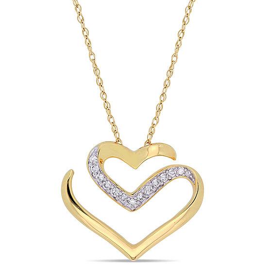 Womens 1 10 Ct Tw Genuine White Diamond 10k Gold Heart Pendant Necklace