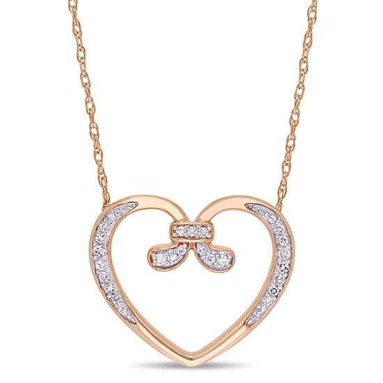 Womens 1/10 CT. T.W. Genuine White Diamond 10K Rose Gold Heart Pendant Necklace