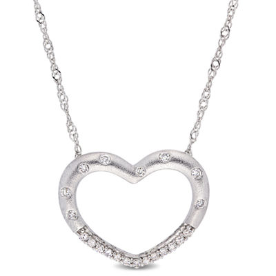 Womens 1/10 CT. T.W. Genuine White Diamond 10K White Gold Heart Pendant Necklace