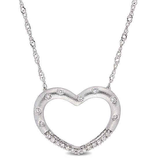 Womens 1/10 CT. T.W. Genuine White Diamond 10K White Gold Heart Pendant Necklace