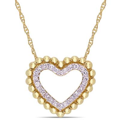 Womens 1/8 CT. T.W. Genuine White Diamond 10K Gold Heart Pendant Necklace