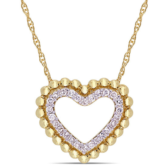 Womens 1 8 Ct Tw Genuine White Diamond 10k Gold Heart Pendant Necklace