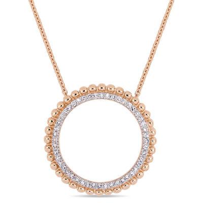 Womens 1/4 CT. T.W. Genuine White Diamond 14K Rose Gold Round Pendant Necklace