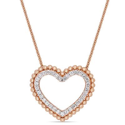 Womens 1/2 CT. T.W. Genuine White Diamond 14K Rose Gold Heart Pendant Necklace