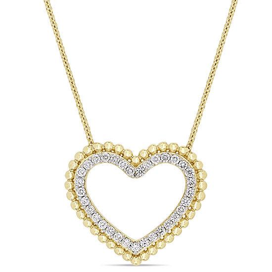 Womens 1/2 CT. T.W. Genuine White Diamond 14K Gold Heart Pendant Necklace