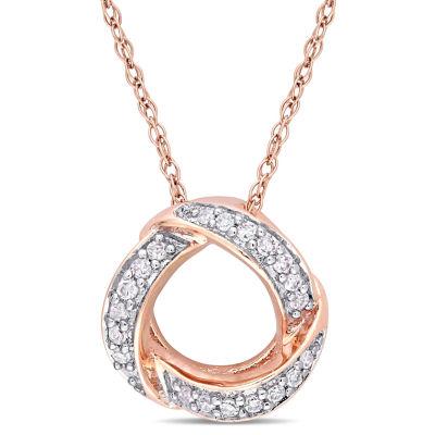 Womens 1/10 CT. T.W. Genuine White Diamond 10K Rose Gold Pendant Necklace