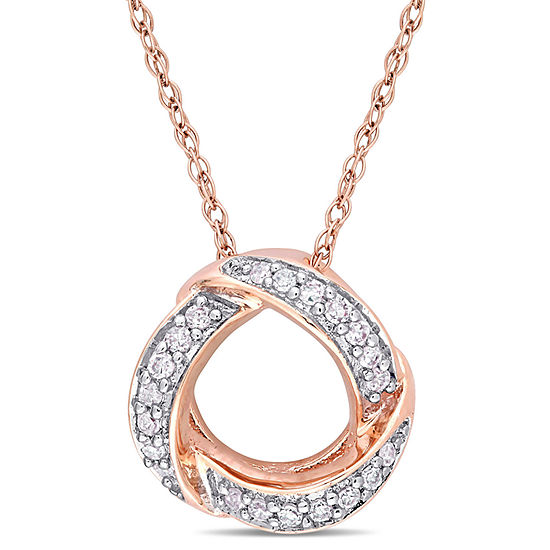 Womens 1/10 CT. T.W. Genuine White Diamond 10K Rose Gold Pendant Necklace