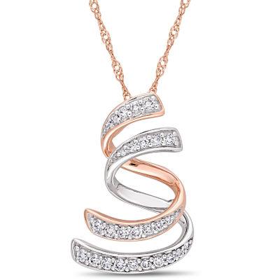 Womens 1/5 CT. T.W. Genuine White Diamond 14K Two Tone Gold Pendant Necklace