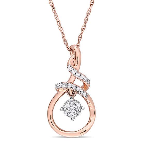 Womens 1/6 CT. T.W. Genuine White Diamond 10K Rose Tone Gold Pendant Necklace