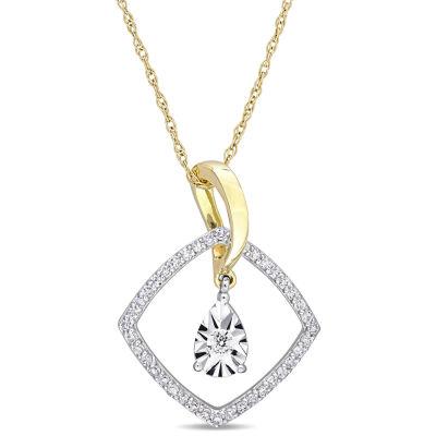 Womens 1/4 CT. T.W. Genuine White Diamond 10K Two Tone Gold Pendant Necklace