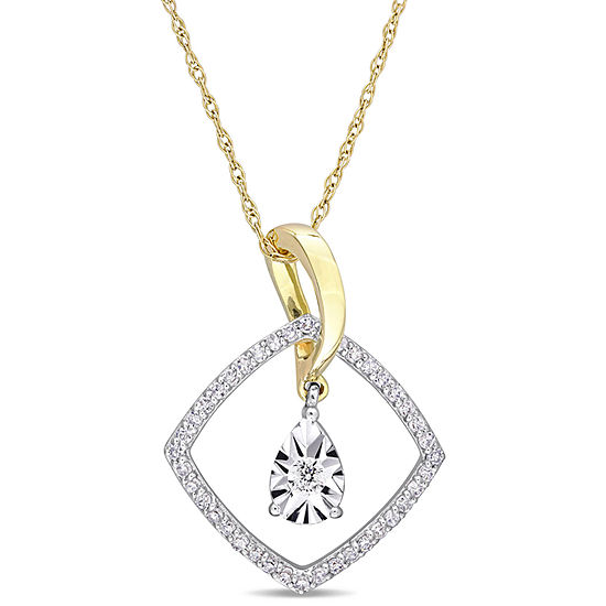 Womens 1/4 CT. T.W. Genuine White Diamond 10K Two Tone Gold Pendant Necklace