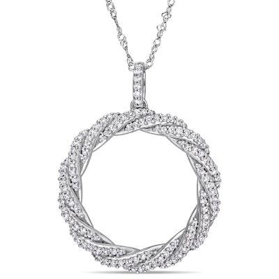 Womens 1/2 CT. T.W. Genuine White Diamond 14K White Gold Round Pendant Necklace
