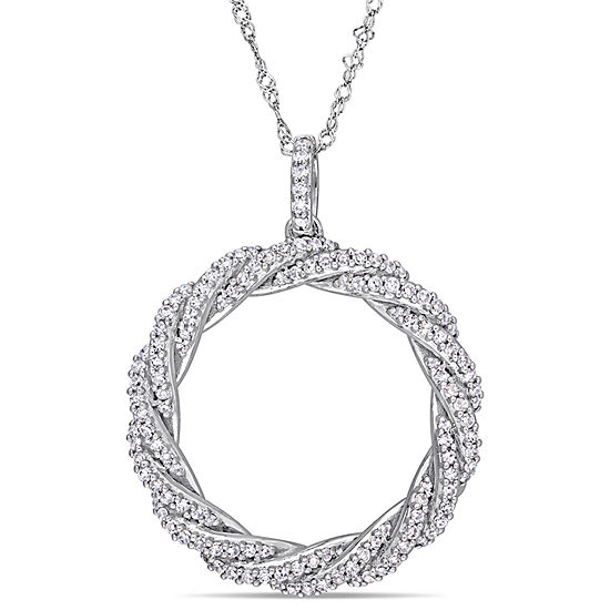 Womens 1/2 CT. T.W. Genuine White Diamond 14K White Gold Round Pendant Necklace