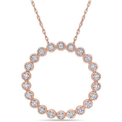 Womens 1/10 CT. T.W. Genuine White Diamond 10K Two Tone Gold Round Pendant Necklace