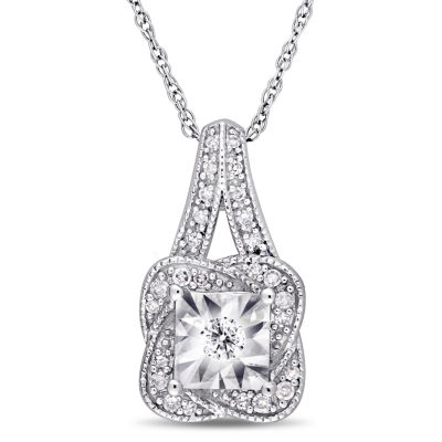 Womens 1/7 CT. T.W. Genuine White Diamond 10K White Gold Pendant Necklace