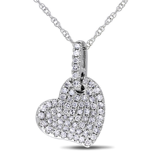 Womens 1/4 CT. T.W. Genuine White Diamond 10K White Gold Heart Pendant Necklace