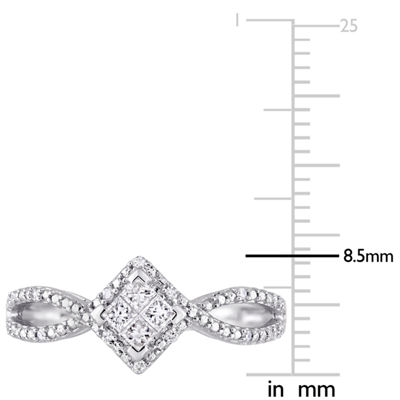 Womens 1/4 CT. T.W. Genuine White Diamond 10K White Gold Engagement Ring