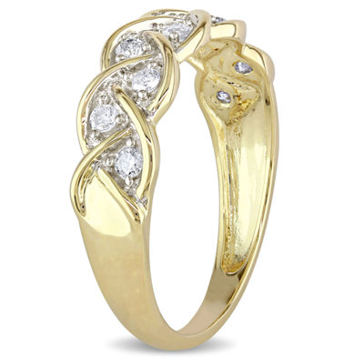 Womens 2MM 1/4 CT. T.W. Genuine White Diamond 10K Gold Anniversary Band