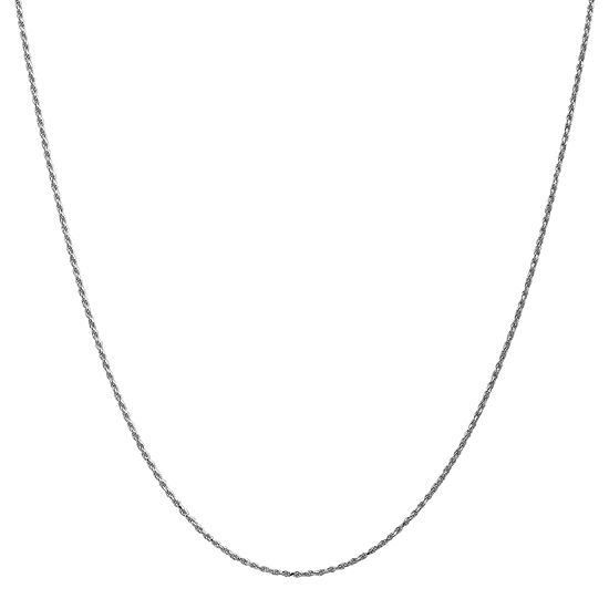 14k White Gold 20 Inch Solid Rope Chain Necklace