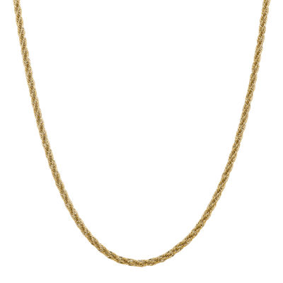 14K Gold 24 Inch Semisolid Rope Chain Necklace