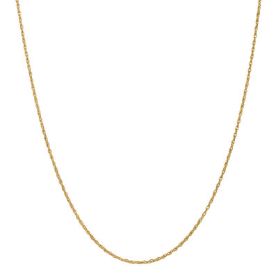 18K Gold 16 Inch Solid Rope Chain Necklace